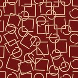 Modern abstract background with brass wire fractured elements in square and circle shape on dark red area Royalty Free Stock Photos
