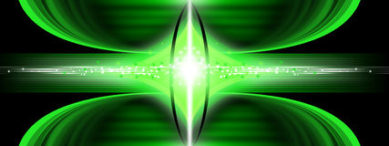 Modern abstract background. Green abstract background with energy flow Stock Photography