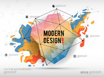 Modern abstract background with paint spot and geometric gemstone. Vector design layout for business presentations, web. Modern abstract background with paint Royalty Free Stock Photography