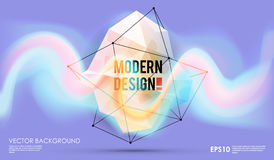 Modern abstract background with paint spot and geometric gemstone. Vector design layout for business presentations, web. Vector design layout for business Royalty Free Stock Photography