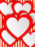Modern abstract background red hearts. Stock Image