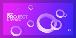 Modern abstract background. Template with circles of different sizes. Poster with three-dimensional geometric shapes vector illustration