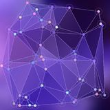 Modern abstract background triangles 3d effect glowing light88. Purple polygonal image, which consist triangles. Triangular pattern for your business design Stock Images