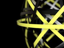 Modern abstract background. Yellow and black 3d rings. 3d render illustration of modern background. Abstract yellow and black rings Vector Illustration