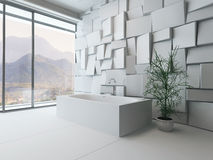 Modern abstract bathroom interior with bathtub Royalty Free Stock Photography