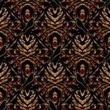 Modern abstract bloemen 3d naadloos patroon Donkere bloemenbackgrou Royalty-vrije Illustratie