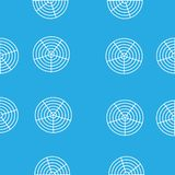 White round circles in the grid on a blue background stock illustration
