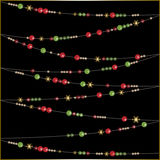Modern abstract bright Christmas beads on black Stock Photography