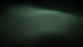 Modern abstract bright green metal surface wave with Field of View. Modern abstract chrome surface wave. Metal grid of bright green metal spheres creating curved royalty free illustration