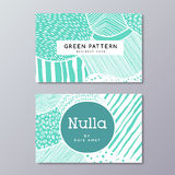 Modern abstract business card and Hand Drawn background. Hand drawn pattern, vector green floral texture. Artistic doodle lines and dots background. Modern vector illustration