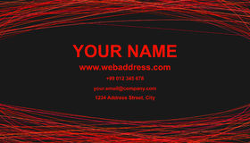 Modern abstract business card template design - vector corporate card illustration with red curves. On black background Stock Image