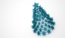 Modern abstract christmas tree with stars rendered Stock Images