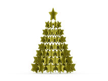 Modern abstract christmas tree with stars rendered Stock Photos