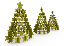 Modern abstract christmas tree with stars rendered. Green modern abstract christmas tree with stars rendered Royalty Free Stock Photos