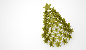 Modern abstract christmas tree with stars rendered. Green modern abstract christmas tree with stars rendered Stock Photos