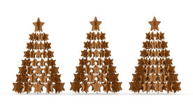 Modern abstract christmas tree with stars rendered Stock Photography