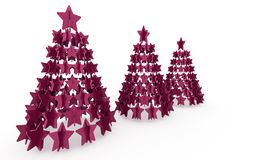 Modern abstract christmas tree with stars rendered Royalty Free Stock Photography