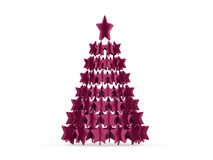 Modern abstract christmas tree with stars rendered Royalty Free Stock Photo