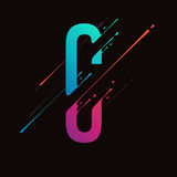 Modern abstract colorful alphabet. Dynamic liquid ink splashes letter. Vector design element for your art. Letter C Stock Photos