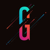 Modern abstract colorful alphabet. Dynamic liquid ink splashes letter. Vector design element for your art. Letter G. See all letters of this alphabet in my stock illustration