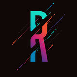 Modern abstract colorful alphabet. Dynamic liquid ink splashes letter. Vector design element for your art. Letter R. See all letters of this alphabet in my Royalty Free Stock Photo