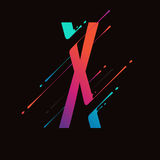 Modern abstract colorful alphabet. Dynamic liquid ink splashes letter. Vector design element for your art. Letter X. See all letters of this alphabet in my vector illustration