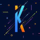 Modern abstract colorful alphabet with minimal design. Letter K. Abstract background with cool bright geometric elements Stock Images