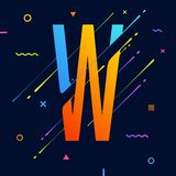 Modern abstract colorful alphabet with minimal design. Letter W. Abstract background with cool bright geometric elements Royalty Free Stock Photography