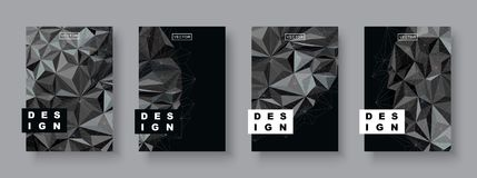 Modern abstract covers set. Futuristic design. Cool gradients card cosmic template. Polygonal halftone. Planet illustration Royalty Free Stock Image