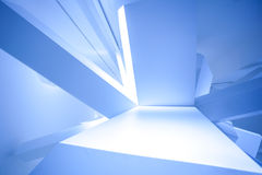 Modern abstract cube construction. In blue horizontal view Stock Photos