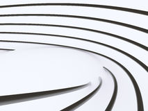 Modern abstract 3D architectural design. With circles Stock Image