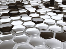 Modern abstract 3D architectural design hexagonal pattern. Modern abstract 3D architectural design of shiny hexagonal shapes Royalty Free Stock Images