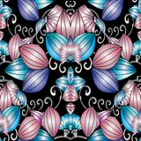Modern abstract 3d floral seamless pattern. Vector background wi. Th striped surface pink blue 3d flowers, vintage swirl lines, leaves. Luxury beautiful Stock Illustration