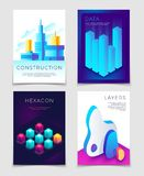 Modern abstract 3d geometric backgrounds with futuristic colorful shapes. Big data, architectural design and blockchain. Vector concept. Geometric data Royalty Free Stock Images