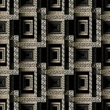 Modern abstract 3d greek key seamless pattern. Vector geometric. Check background. Surface texture. Ancient meander ornament, squares, frames, lines, shapes Stock Image