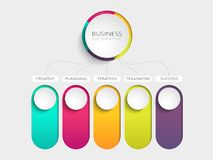 Modern abstract 3D infographic template with five steps for success. Business circle template with options for brochure, diagram. Workflow, timeline, web Royalty Free Stock Photography