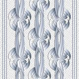 Modern abstract 3d vector seamless pattern. Striped ornamental d. Otted white background. Vintage celtic style intricate ornaments. Decorative ornate design Royalty Free Illustration