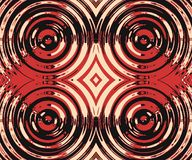Red Shiny Metal Circles Seamless Pattern. A modern abstract design of black, red and white circular design elements giving a metallic 3D effect in a seamless stock illustration