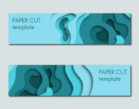 Set of paper cut style horizontal banners. stock illustration