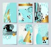 Modern abstract digitaal het schilderen A4 formaat in in hipstervarkenskot Stock Illustratie