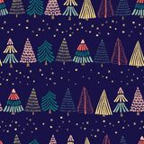Modern abstract doodle Christmas trees in a row and stars on a dark blue background. Seamless vector pattern. Great for christmas. Perfect for holiday cards stock illustration