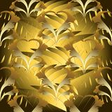 Modern abstract floral 3d seamless pattern. Vector shiny gold Ba. Roque background. Ornate patterned textured design. Vinrtage scroll leaves, flowers, stripes royalty free illustration