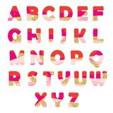 Modern abstract font with glitter. Creative ABC letters can be used for sale, birthday party, shop, present, header. Modern abstract font with glitter. Bright Stock Illustration
