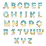 Modern abstract font with glitter. Creative ABC letters can be used for sale. Modern abstract font with glitter. Bright ABC letters can be used for sale, party Stock Photography