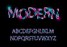 Modern abstract font Trendy style distorted typeface royalty free illustration