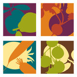 Modern abstract  fruit and vegetable designs. 4  fruit and vegetable designs Stock Photo