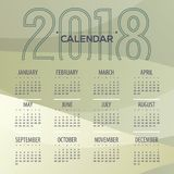 2018 Modern Abstract Green Printable Calendar Starts Sunday Royalty Free Stock Photo