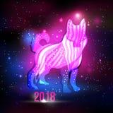 Modern abstract hondsilhouet met 2018 Nieuwjaarinschrijving op de nachthemel met lichten en sterren grunge vectorachtergrond Stock Afbeelding