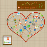 Modern  abstract info graphic design - heart lines Royalty Free Stock Photos