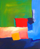 Modern Abstract Landscape Painting with Red Square. Original Artwork Stock Image